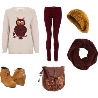 hipster sweater atzech white cream cute nice cool girl style winter sweater fall sweater teenagers hipsta owl lemongrass burgundy infinity scarf