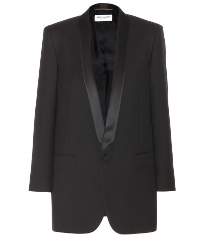 mytheresa.com -  Wool blazer with satin lapels  - Blazers - Jackets - Clothing - Luxury Fashion for Women / Designer clothing, shoes, bags