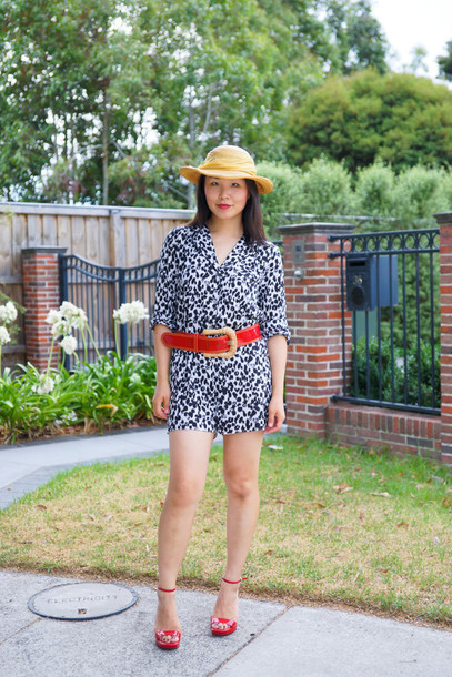 cecylia blogger hat romper belt red heels
