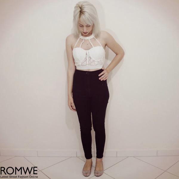 ROMWE | Neck Strap Embellished White Lace Bandeau, The Latest Street Fashion
