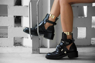 shoes black boots buckles combat boots black black shoes gold gold hardware cut-out cut out ankle boots gold buckles gold buckle all black and gold wishlist boots chunky jewels black combat boots black and gold leather metallic fashion brand choies cutout buckled boots