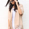 Kimono style relaxed fit faux suede leather fringed jacket in soft camel