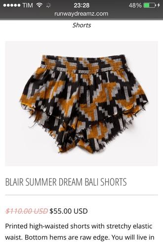 shorts elastic tribal pattern runwaydreamz