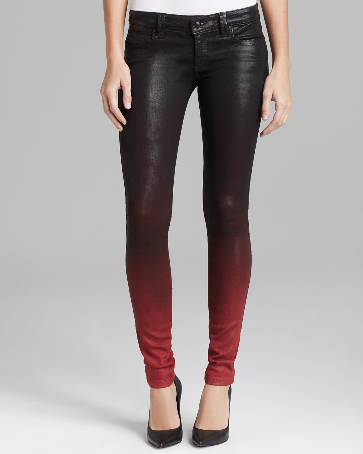 Frankie B Jeans - Coated My BFF Legging in Ombre Red | Bloomingdale's