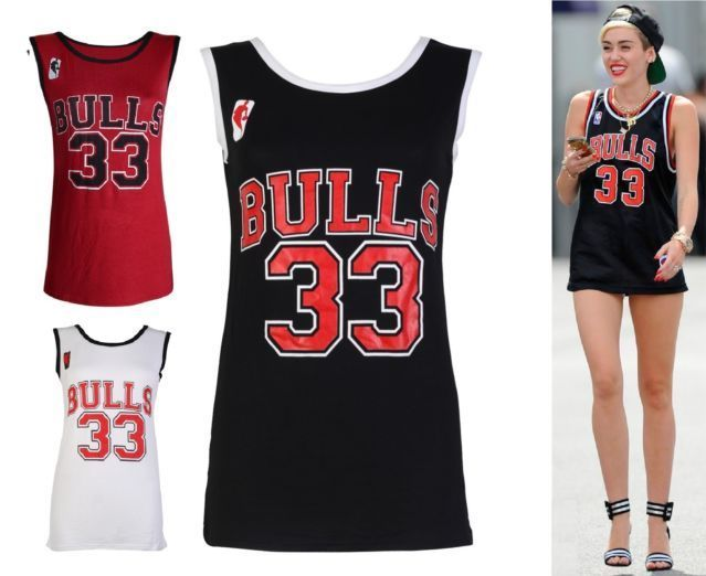 Womens Top Chicago Bulls Celebrity Miley Cyrus Basketball Vests Ladies T Shirts | eBay