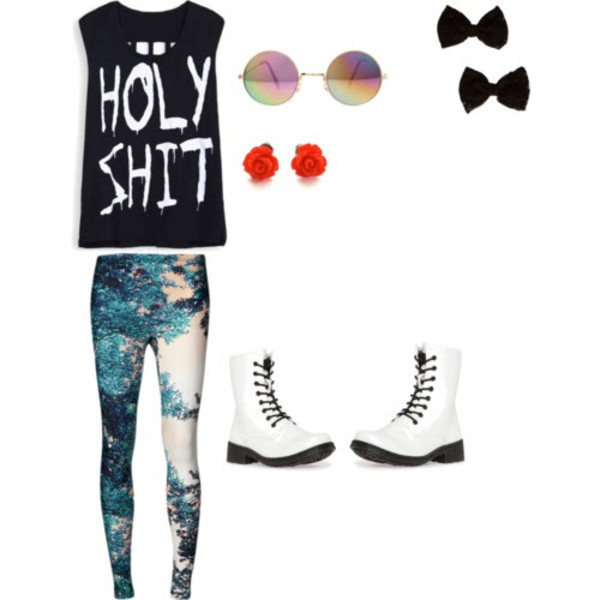 jewels holy shit printed leggings hair bow roses vintage sunglasses