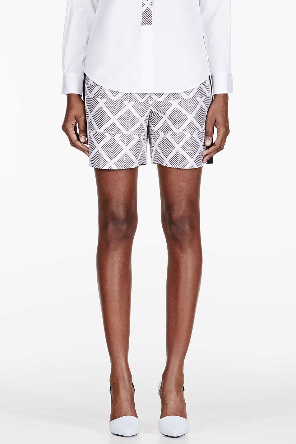 maiyet white silk printed pleated waist shorts