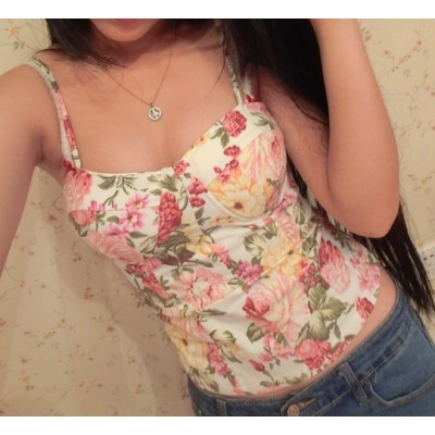 Buy Fashion Clothing -  Retro floral bustier women's top