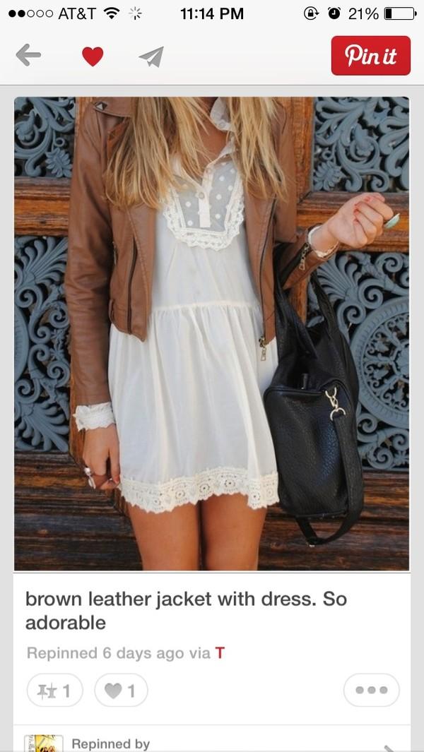 dress white lace lace dress white dress leather leather jacket brown leather jacket cute country jacket