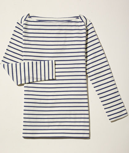 Cotton/Modal Three-Quarter-Sleeve Boatneck, Stripe: KNITS and TEES   Free Shipping at L.L.Bean