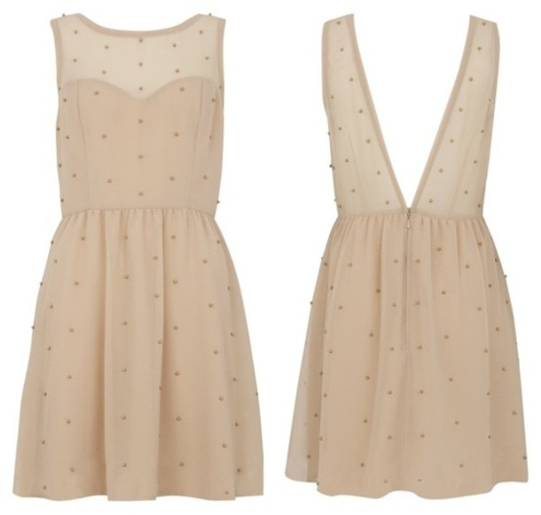 dress open back plumetis cream dress