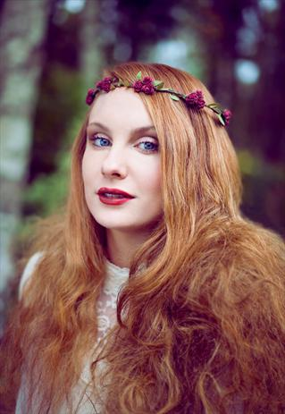 Burgundy Red Floral and Green Trim Festival Flower Crown  | Beauxoxo | ASOS Marketplace