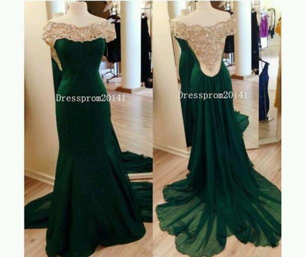 dress emerald green backless dress crystal