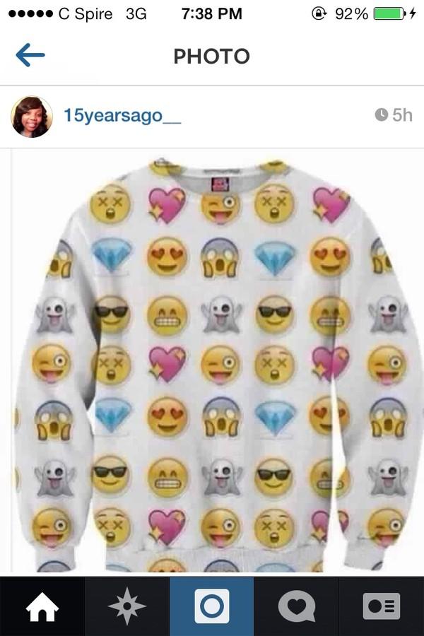 sweater emoji print emoji print emoji print crewneck