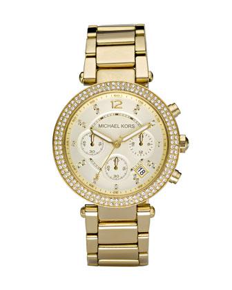 Michael Kors  Parker Glitz Watch, Golden - Neiman Marcus