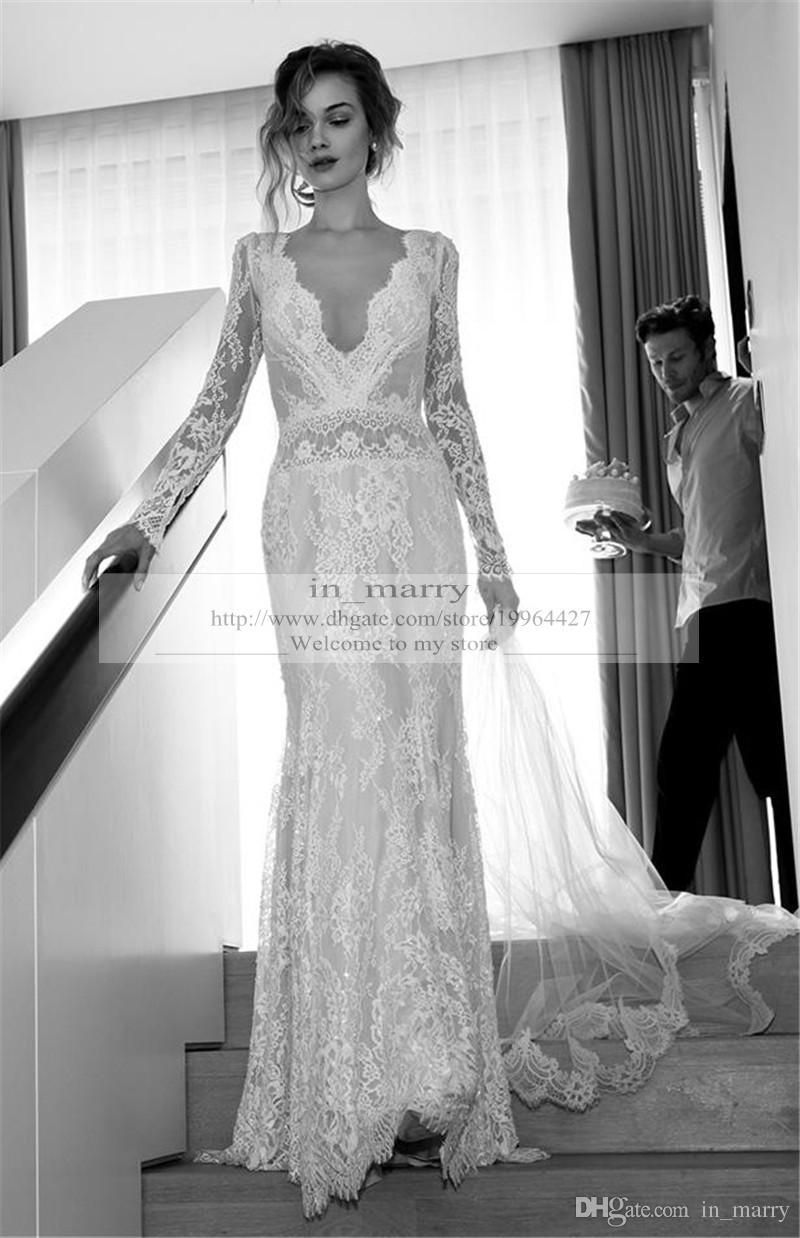White Long Sleeve Bohemian Wedding Dress Raveitsafe