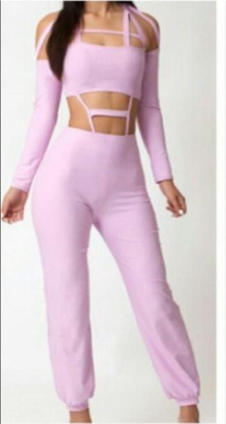 jumpsuit pink jumpsuit cut out back cut out top
