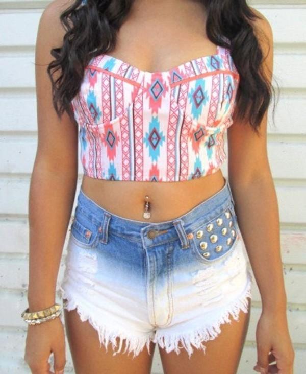 shirt aztec halter top shorts