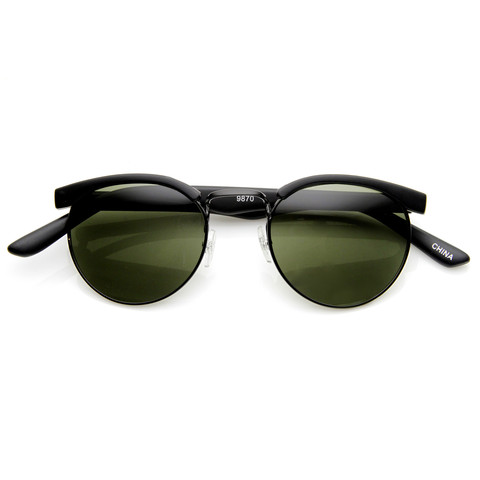 Dapper Vintage Fashion Round Half Frame Sunglasses 9165                             zeroUV