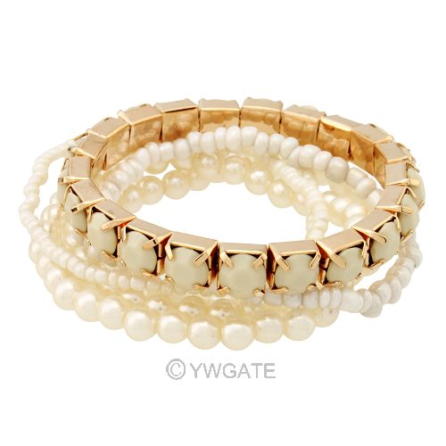 1 Set 6pcs Punk Pearl Bead Multi Layers Bangle Chain Bracelet White Jewelery New | eBay