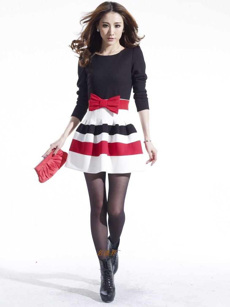 2014 new hot fashion women clothing cute casual active sexy dress Elegant long sleeve Slim Lady Striped Ball Gown Bow-in Dresses from Apparel & Accessories on Aliexpress.com