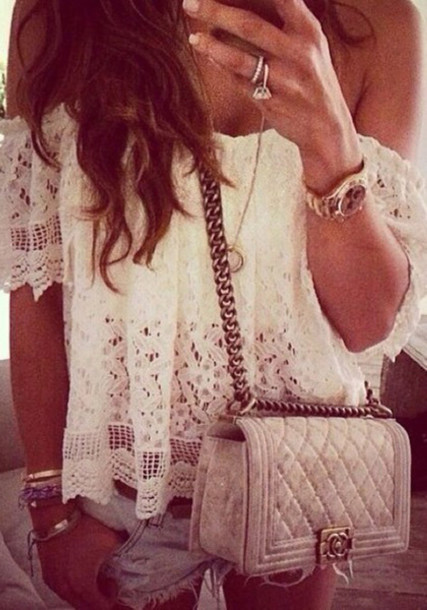 shirt off the shoulder top off shoulder blouse lace top crochet crop top sexy shirt white lace top hollow out blouse