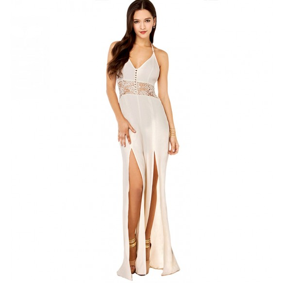 Thigh Split Flowy Maxi Jumpsuit With Lace Waistband And T Strap Back at Style Moi
