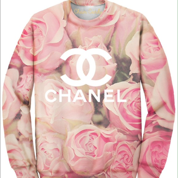 34% off CHANEL Sweaters - Allover printed rose chanel sweatshirt from Lexie's closet on Poshmark