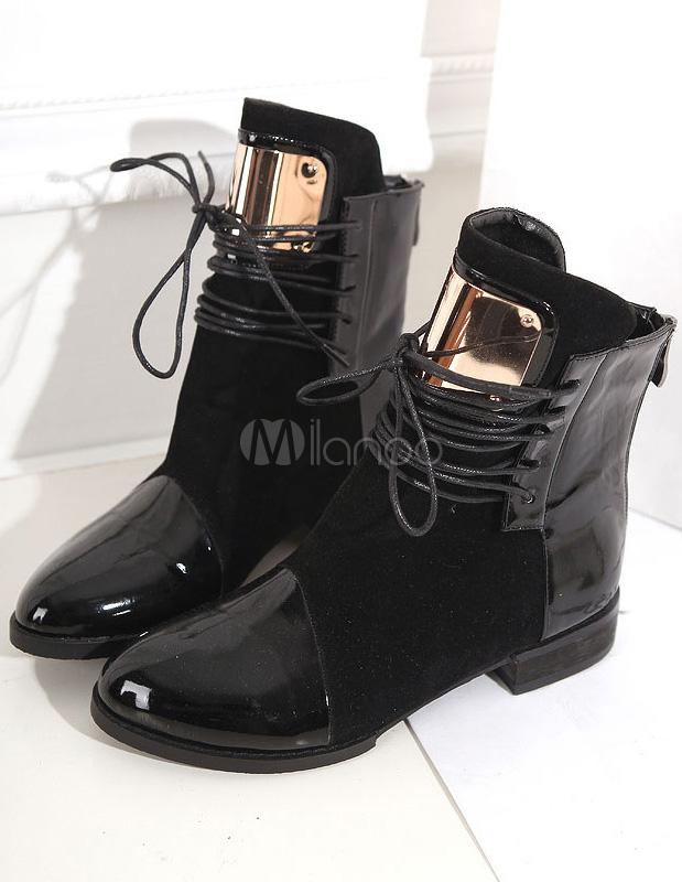 Fantastique noir ronde plates bottines Toe PU lacets cuir femme  - Milanoo.com