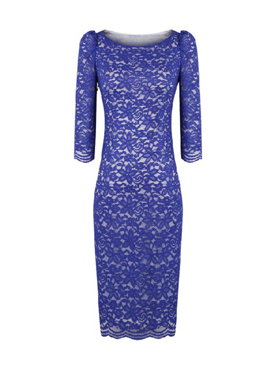 Blue Formal Dress - Boat Neck Blue Lace Dress | UsTrendy