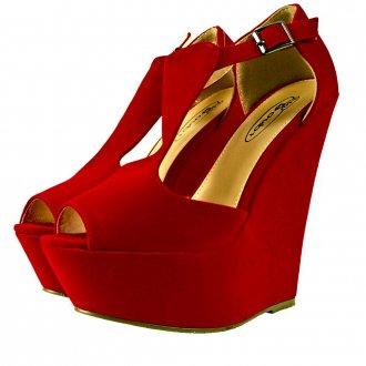 Red Suedette T Bar Platform Wedge Sandal Shoes -  from Shoebou UK