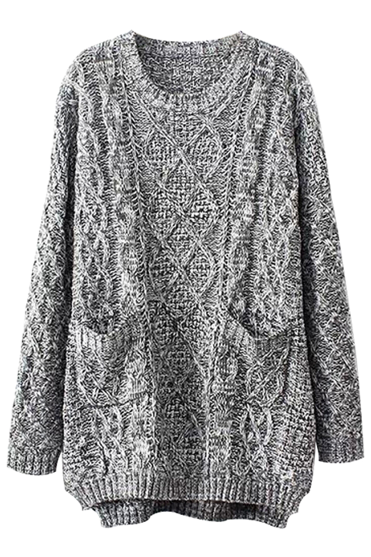 Voorkeur Grey Oversized Cable Knit Sweater - OASAP.com &LY82