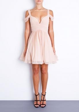 LILY - Dusty White Chiffon Prom Dress