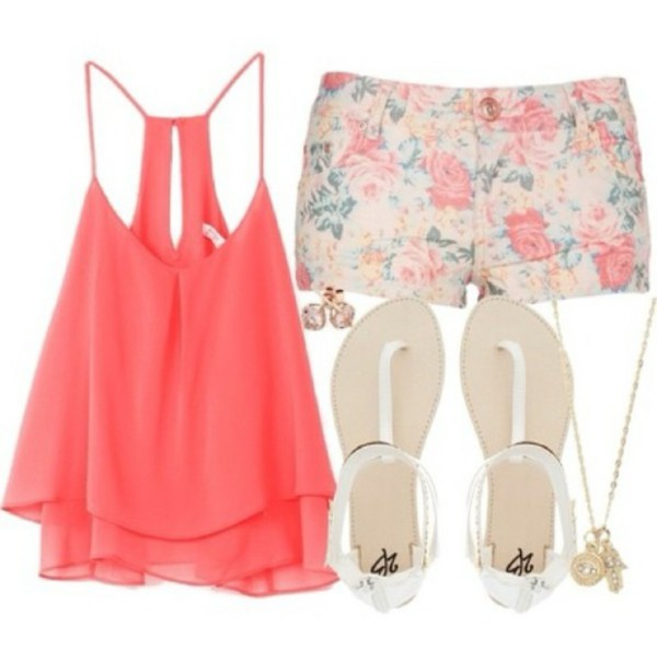 shorts jewels shoes sandals white sandals tank top shirt