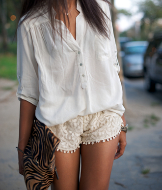 lace shorts cute outfits leopard bag animal print bag white blouse white summer pom pom shorts cream shorts flowered shorts zebra print shorts shirt lace baggy white top sheer gypsy boho white shirt style summer top fashion crochet shorts