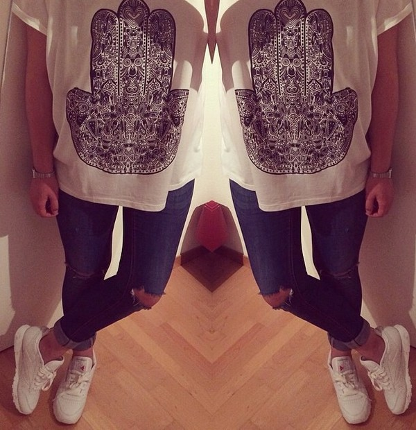 blouse t-shirt ripped jeans shoes jeans