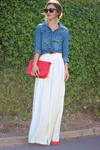 frankie hearts fashion t-shirt pants shoes bag jewels sunglasses skirt maxi skirt chambray button down
