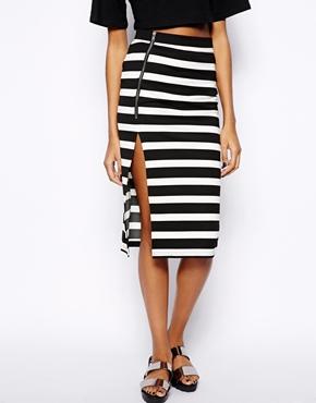 Vero Moda   Vero Moda Wide Stripe Zip Skirt at ASOS