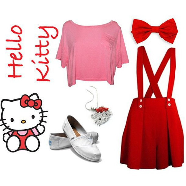skirt hello kitty red red dress red skirt cute cute dress clothes girly shoes kawaii ❤️