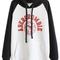 Romwe   romwe color block letters print black hoodie, the latest street fashion