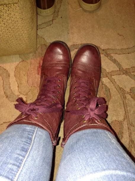 shoes burgondy boots