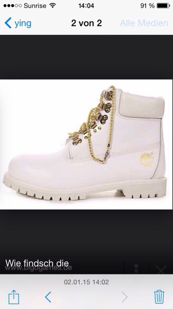 shoes timberlands gold chain