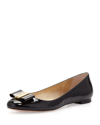 kate spade new york thyme patent bow flat, black - Neiman Marcus