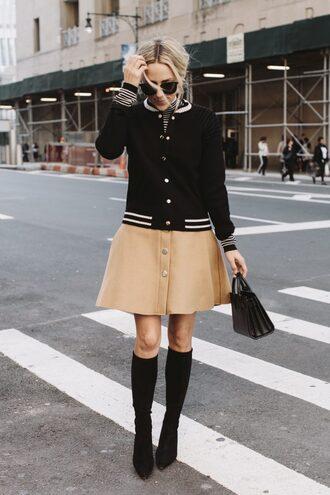 damsel in dior blogger cardigan skirt top shoes bag varsity jacket beige skirt button up skirt knee high boots handbag