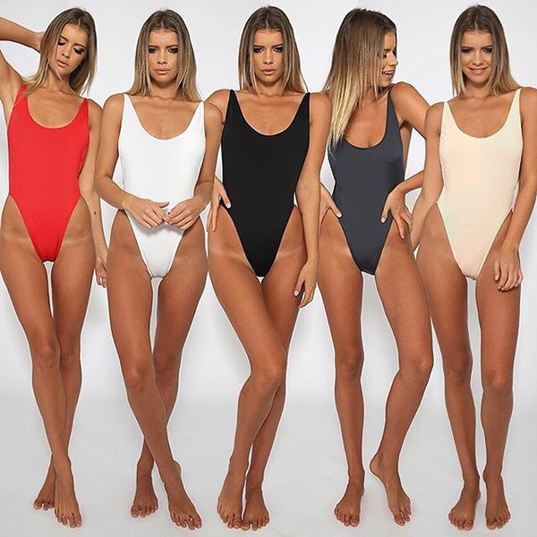 Swimwear: high cut swim, high cut swimsuit, black one piece, black high cut onepiece, black ...