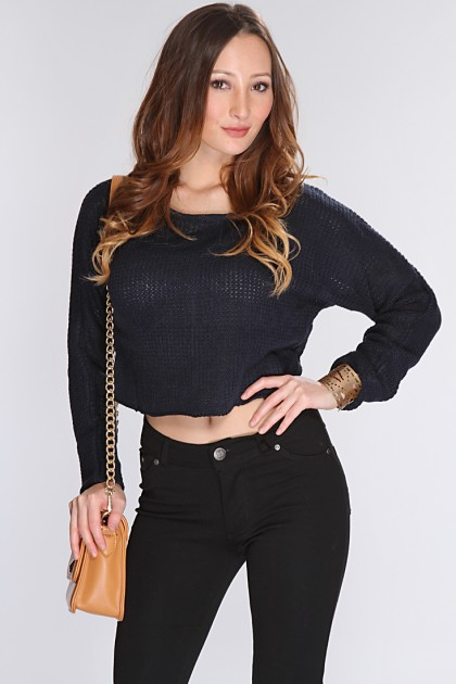 Navy Open Knit Cropped Sweater @ Amiclubwear Clothing,sexy club wear,women's party wear,sexy clothes,evening dress,v neck sweater dress,mini sweater dress,cashmere sweater set,women's turtleneck sweaters,short sleeve turtleneck sweaters,sweater vest women