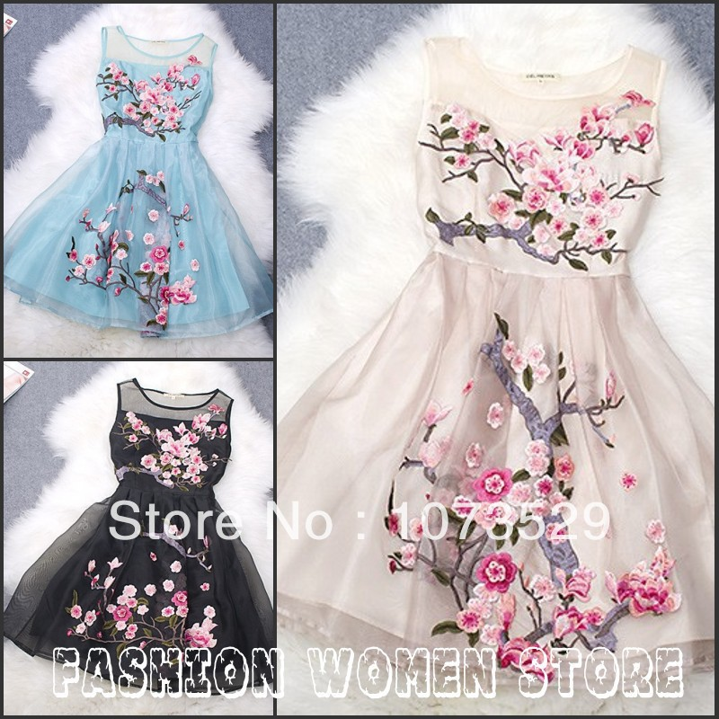 New 2014 Spring celebrity floral trendy women clothing Organza Embroidery  Curtilage veste femme Casual Gowns Vetement Dresses-in Dresses from Apparel & Accessories on Aliexpress.com