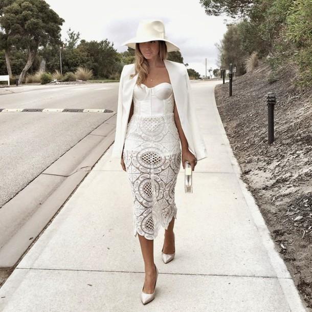 friend in fashion blogger fedora white dress lace dress white bustier dress blazer