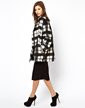 French Connection | French Connection Check Bunny Coat at ASOS