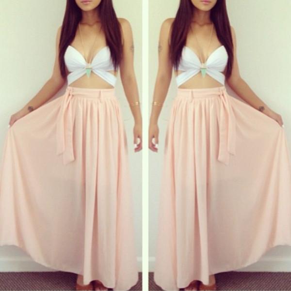 shirt summer maxi white top pink maxi skirt cute city look beach tank top white tank top maxi skirt